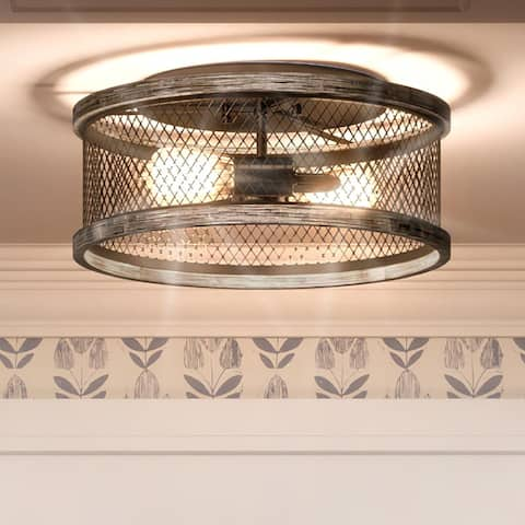 """Luxury Shabby Chic Ceiling Light, 6.5""""H x 14""""W, with Posh Style, Olde Bronze, UHP3391 by Urban Ambiance - 6-1/2''H x 14""""W x 14""""D"""
