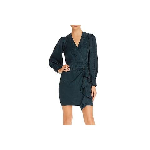 Parker Womens Wrap Dress Silk Mini - Pine