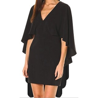 Funfash Plus Size Women Sexy Black Long Cape V Neck Bodycon Mini Dress