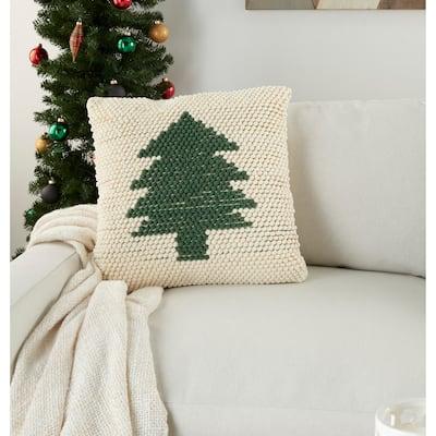 "Mina Victory Christmas Tree Loops Green Ivory Throw Pillow 20"" x 20"""