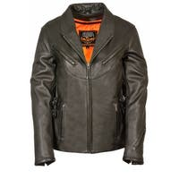 Womens Leather Side Buckle Vented Jacket
