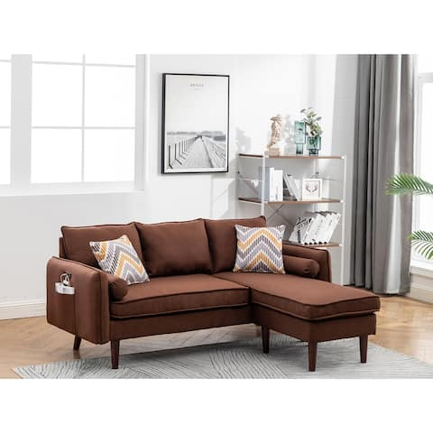 Mia Brown Linen Fabric Sectional Sofa Chaise with USB Charger & Pillows