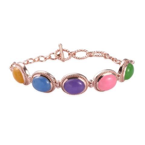 950 Platinum Rose Gold Over Green Blue Jade Bracelet Inch Ct 29.3 - Bracelet 7.25''