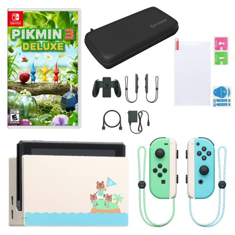 Animal Crossing Edition Nintendo Switch with Pikmin 3 Deluxe and Accessories - Turquoise