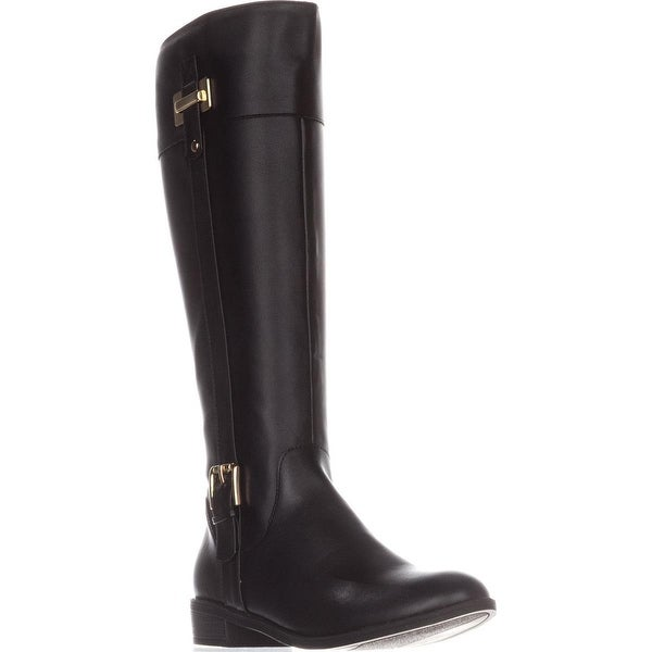 KS35 Deliee Flat Knee-High Boots, Black P