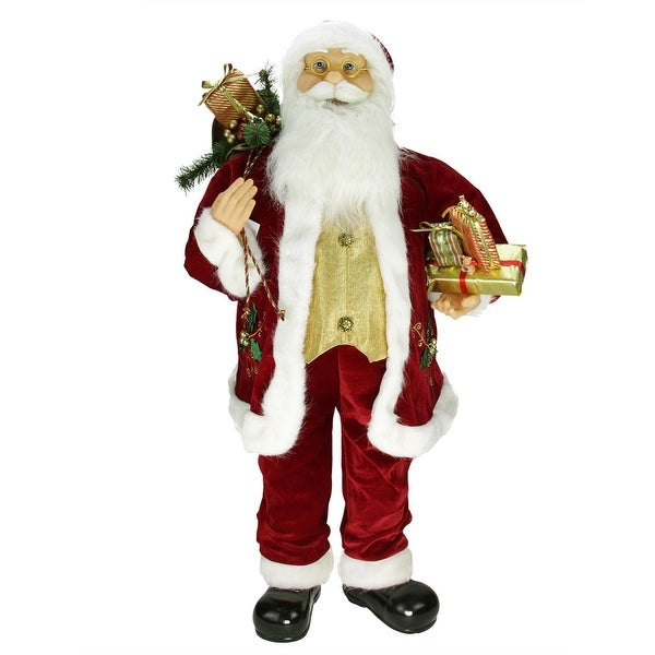 "36"" Traditional Holly Berry Standing Santa Claus Christmas Figure with Presents and Gift Bag - RED"