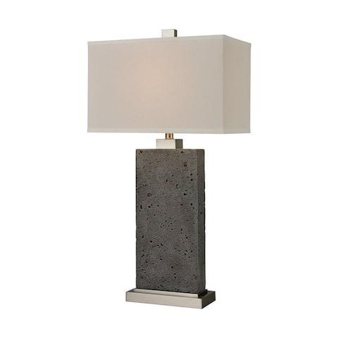 Hay Laurels - 1 Light Table Lamp Green Rough Concrete/Satin Nickel/Satin Nickel Finish with White