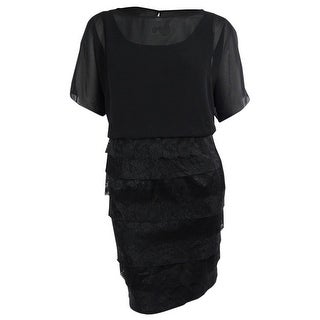 London Times Women's Mix Media Blouson Dress - Black