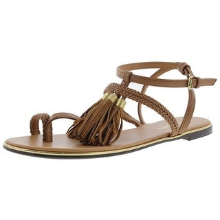 Report Womens Citrine Flat Sandals Leather T-Strap