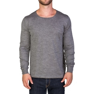 Prada Men's Wool Silk Blend Scoop Neck Sweater Grey