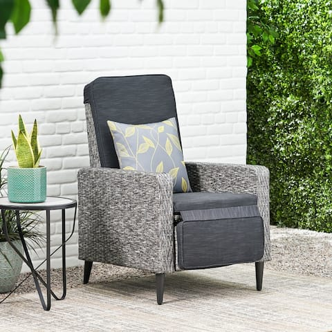 Murdock Outdoor Wicker Outdoor Recliner with Cushion by Christopher Knight Home