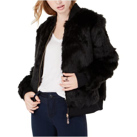 Say What? Womens Juniors Bomber Jacket Faux Fur Cropped - Black - S