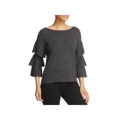 Design History Womens Sweater Ribbed Knit Ruffle Sleeves - Hurricane Grey