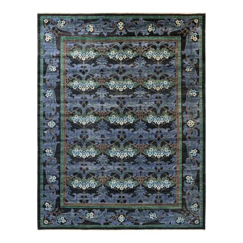 """Arts & Crafts, One-of-a-Kind Hand-Knotted Area Rug - Black, 8' 10"""" x 11' 9"""" - 8' 10"""" x 11' 9"""""""