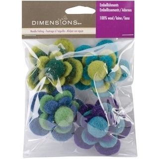 Feltworks Layered Cool Flowers-4/Pkg - Red