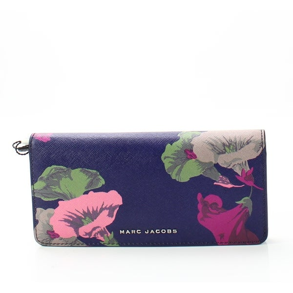 Marc Jacobs Blue Morning Glories Saffiano Leather Clutch Wallet