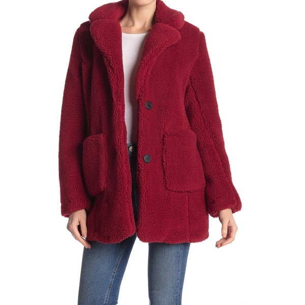 Sebby Women's Medium Notch Lapel Faux Shearling Jacket