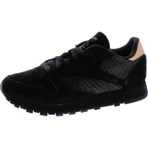 Reebok Womens Classic Sneakers Suede Fitness - Black/Rose Gold