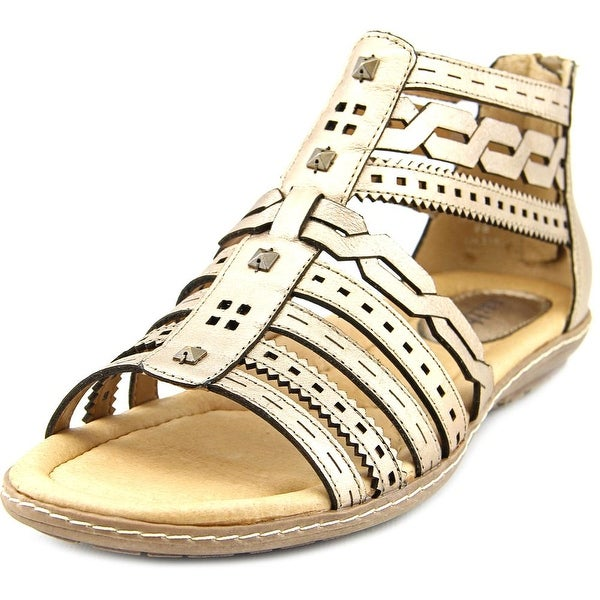 Earth Bay Women Open Toe Leather Gold Gladiator Sandal