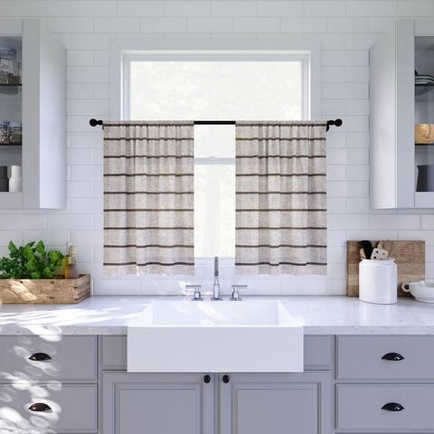 Clean Window Twill Stripe Anti-Dust Linen Blend Sheer Cafe Curtain Pair