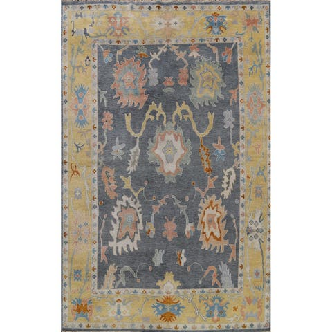 """Floral Oushak Oriental Dining Room Area Rug Hand-knotted Wool Carpet - 9'1"""" x 12'1"""""""