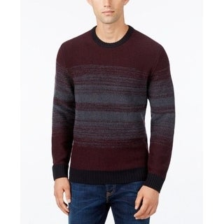 Alfani Mens Red Striped Long Sleeve Crew Neck Pullover Sweater Large - L