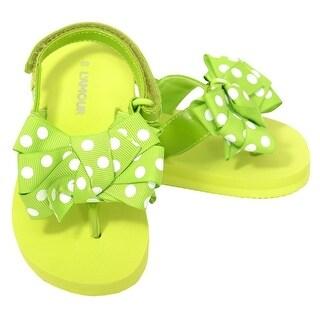 L'Amour Green Polka Dot Bow Wedge Flip Flops Sandals Toddler Girl 5-10