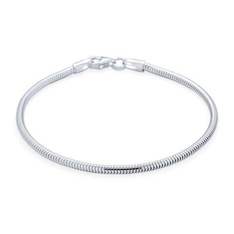 Snake Chain Starter Charm European Beads Bracelet Sterling Silver