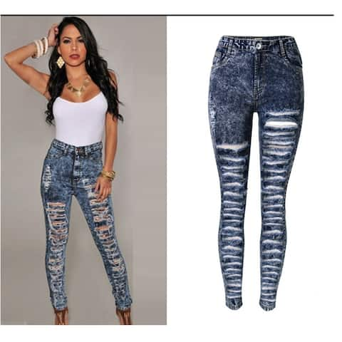 Sexy Blue Acid Wash Distressed Rip Style Torn Holes Jeans - 36
