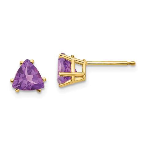 14K Yellow Gold 6mm Trillion Amethyst Earrings by Versil