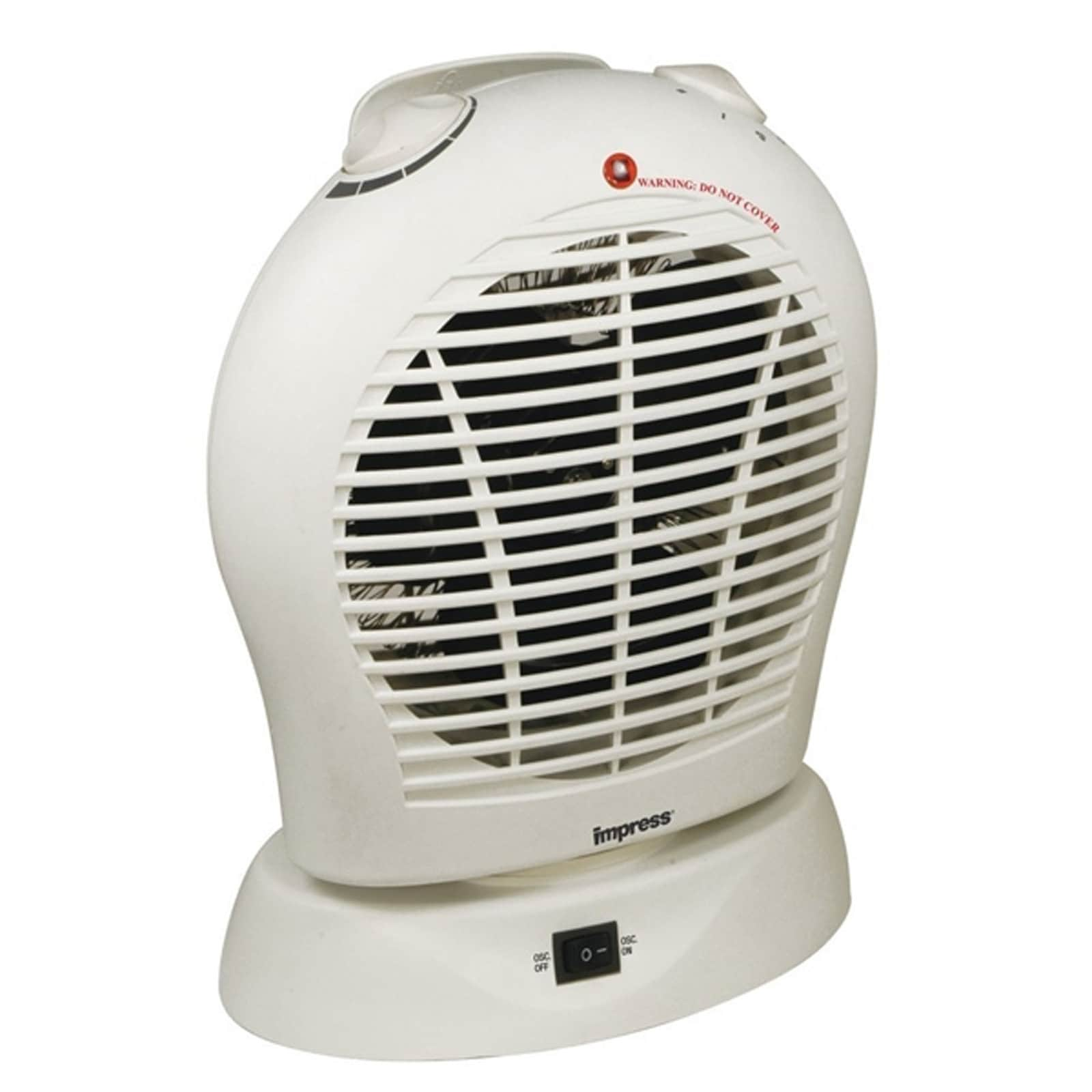 Oscillating Fan Heater with Thermostat White