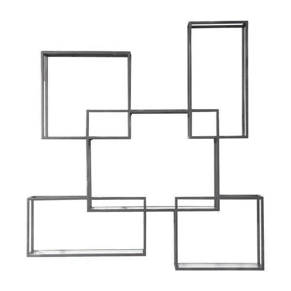 "51"" Silver Open Framed Geometric Hanging Metal Wall Shelf - N/A"