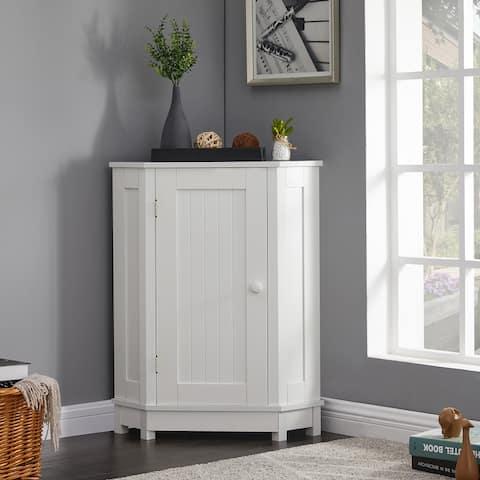 White Bathroom Cabinet Triangle Corner Storage Cabinet Adjustable Shelf Modern Style MDF Board