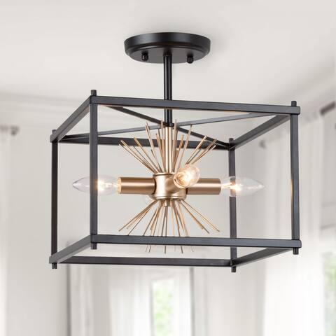 "Modern Gold Sputnik Semi-flush Mount Ceiling Lights - L12""xW12""xH13"""