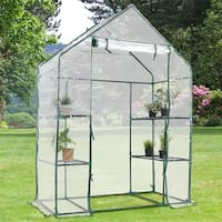 Costway Portable Mini Walk In Outdoor 3 Tier 6 Shelves Greenhouse - CLEAR