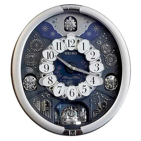 SEIKO QXM379SRH Glittering Starry Night Melodies in Motion Wall Clock, Silver