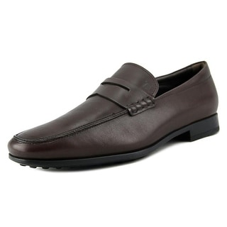 Tod's Mocassino Gomma Sottile QO Men A Round Toe Leather Brown Loafer