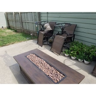 Anchorage Outdoor 56-inch Rectangular Liquid Propane Fire Table with Lava Rock by Christopher Knight Home