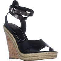 Charles Charles David Brit Wedge Sandals, Black/Gunmetal
