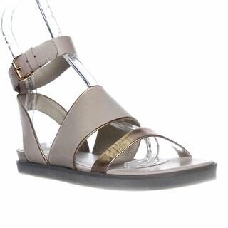 Pour La Victoire Sabina Ankle Strap Flat Sandals - Cream/gold
