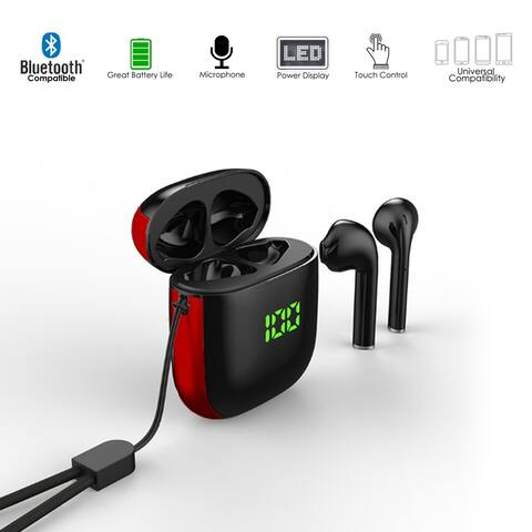 K6 EarBuds BT 5.1 Sync, HiFi Music & Calls, Magnetic Charging Case w/ Wireless Charge, Auto Pairing (Black)