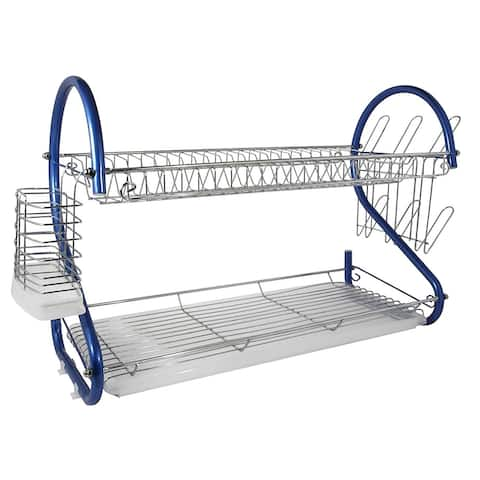 Better Chef DR-226B, 22-Inch, 2-Tier, Chrome Plated Dishrack in Blue