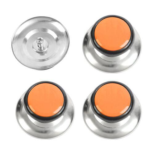 Pot Lid Knob Durable Universal Kitchen Cookware Cover Replacement Orange 4pcs