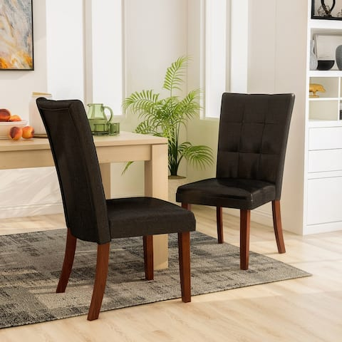 Furniture of America Yols Modern Oak Tufted Dining Chairs (Set of 2)