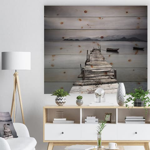 Designart 'Pier and Boats at Seashore' Bridge Print on Natural Pine Wood - Multi-color