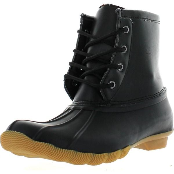Refresh Women's Hunter-06 Waterproof Rubber Rain Ankle High Rain Duck Boots - Black