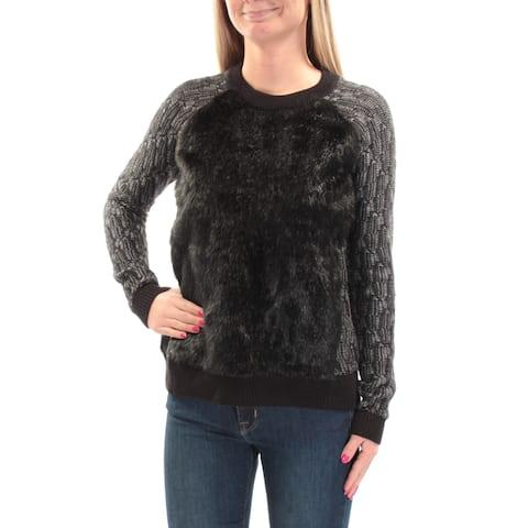 RACHEL ROY Womens Black Faux Fur Long Sleeve Jewel Neck Sweater Size: XS