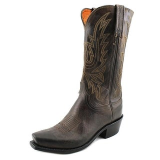Lucchese Cole Men Square Toe Leather Brown Western Boot