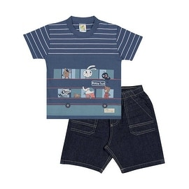 Baby Boy Outfit Infant Striped Shirt and Denim Shorts Set Pulla Bulla 3-12 Month