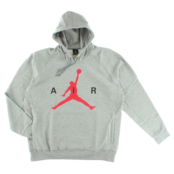 4afbd0b5328 Shop Jordan Mens Air Jordan Air Pullover Hoodie Grey - Grey/Red - On Sale -  Free Shipping Today - Overstock - 22545142